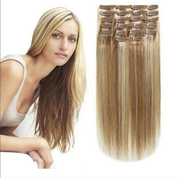 Accessories Blonde Mix Lightdark Human Real Hair Extensions Poshmark